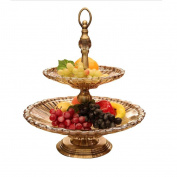 houyuanshun European-style Glass Double Fruit Plate Ornament Home Furnishing Decoration Fashion Fruit Tea Tray Dessert