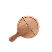 Yvon Nelee Wooden Saucer Natural Wood Plate Round with Handle Wooden Dish Fruit Dishes GERICH S