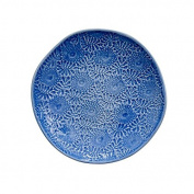 Embossed Stoneware Side Plate in Blue by Rice DK