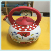 Enamel painting kettle, hot kettle,Teapot with big red flower