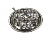 7 PC ROUND Stainless STEEL RELISH PICKLE CHUTNEY SERVING DISH BOWLS THALI SPOONS