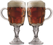 Circleware Uptown Set of 2 Footed Clear Heavy Base Beer Glasses with Handles, Huge 590ml, Limited Edition Wine Whiskey Scotch Beverage Drinking Mason Glass Beer Mug on Stem