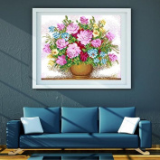 KAMIERFA Vase and Peony DIY Cross Stitch Embroidery Kit Home Decor Arts, Crafts & Sewing Cross Stitch