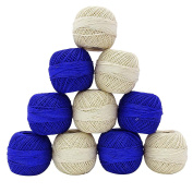 10 Pcs Mercerized Cotton Knitting Crochet Thread Ball Skein Spun Yarn