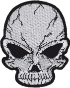Iron on Patch Sew on Embroidered Application Cool Silver Skull Biker MC