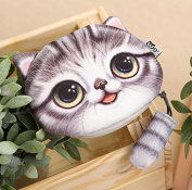 BAIDO Lovely Cat Face Purse Series Coin Wallet Card Keys Bag-Grey