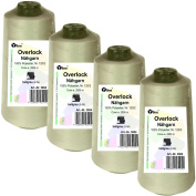 Set of 4 Spools Overlock Sewing Cotton, Light Grey, A. 2500 4 Medium No. 120/2, 100% Polyester Sewing Thread, Sewing Machines, 3004