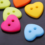 Outflower 100pcs DIY Mixed Colours Heart 2 Holes Resin Sewing Buttons for Crafts, Jewellery making