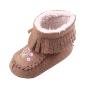 Hougood Baby Girls Boots 0-12 Months Toddler Winter Boot Tassel Flower Embroidery Snow Boots Antiskid Sole Walking Shoes