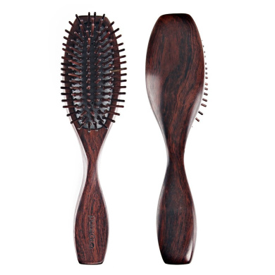 pureGLO Natural Black Sandalwood Hair Brush - Detangling Scalp Massage Hair Comb - Organic Wooden Bristle & Cushioned Base