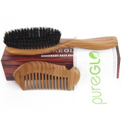 pureGLO Pure Boar Bristle Hair Brush Set with Natural Green Sandalwood Handle for Short, Thin Hair - Wooden Wide Tooth Detangling Comb Included