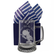 "Darts Tankard, ""Darts Hits the Spot!"" One Pint Glass Tankard, Professionally Engraved, Presented in a Gift Box with Co-ordinating Tissue as shown. Dart Gift, Dart Present, Dart Player,"