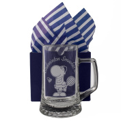 "Badminton Tankard, ""Badminton Smashes It"" One Pint Glass Tankard, Professionally Engraved, Presented in a Gift Box with Co-ordinating Tissue as shown. Badminton Gift, Player, Present, Fan,"