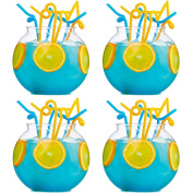 4x Large 2.5L Cocktail Fish Bowls - Plastic Fishbowl Punch/Drinking Globes
