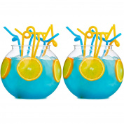 2x Large 2.5L Cocktail Fish Bowls - Plastic Fishbowl Punch/Drinking Globes