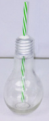 Lightbulb Retro Glass Jar With Green Straw - Vintage Style