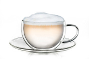 Creano Thermo Cup Double-Walled Tea/Latte Macchiato Cappuccino Cup and Saucer 250ml