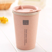 COJOY Travel Coffee Tumbler Cup with Lid Wheat Straw Eco-friendly Water Bottle Mug for Tea, Milk