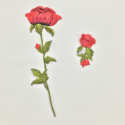 KAYI Romantic Rose DIY Chinese Embroidery Cloth Accessories Handmade Embroidery Stickers Kit 2Pcs One Big One Small