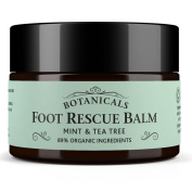 Foot Rescue Balm for Cracked Heels, Hard Skin & Athletes Foot Cream Treatment - 100% Natural and Certified Organic, Chemical Free Safe for Diabetics, Mint & Tea Tree