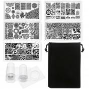 5 Pieces Nail Art Stamp Stamping Plates and 2 Pack of Nail Art Polish Clear Stamper Scraper, Nail Templates Stamper Scraper Kit