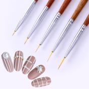 Born Pretty 5Pcs Nail Art Liner Drawing Brush UV Gel Painting Acrylic Redwood Handle DIY Manicure Tool Set