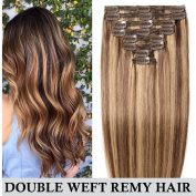 Double Weft Human Hair Extensions Clip in Real Remy Hair Full Head 8 PCS - 50cm 150g 4/27# Medium Brown mix Dark Blonde - Thick Long Straight Natural