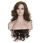 MIKWIG Natural Women Long Curly Darker Brown Heat Resistant Synthetic Hair Wigs with Free Wig Cap