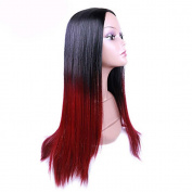 MZP Black To Red Colour Straight Synthetic Hair Wig Glueless Synthetic Wigs For Afro Women , red