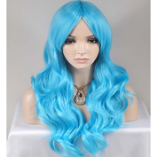 MZP Women Synthetic Wigs Blue Hair Long Body Wave Fashion Party Wig For Halloween , blue