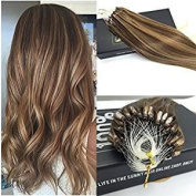 Sunny Micro Ring Loop Hair Extensions 60cm 50gram 1g/strand Blonde Mixed Brown Silky Straight Micro Beads Hair Extensions