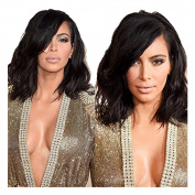 Royal-First Glueless Lace Front Wig Brazilian Virgin Human Hair Short Bob Wavy Wigs for Women with Side Bangs130% Density