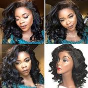 Royal-First Glueless Lace Front Wig Brazilian Virgin Human Hair Short Bob Wavy Wigs for Women with Bangs 130% Density