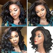 Royal-First Glueless Lace Front Wig Brazilian Virgin Human Hair Short Bob Wavy Wigs for Women with Bangs 130% Density 30cm , #1b Black Colour
