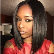 Royal-First Brazilian Virgin Human Hair Lace Front Wig Glueless Silky Straight Short Bob Wigs with Baby Hair for Women