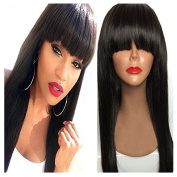 Royal-First 7a Brazilian Virgin Human Hair Lace Front Wigs Glueless Silky Straight With Bangs For Women 41cm , #1 Jet Black Colour
