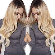 Royal-First Glueless Brazilian Virgin Human Hair Lace Front Wavy Wigs for Women #2/#24 Brown to Natural Blonde Ombre Colour 130% Density