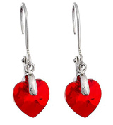Till Mountain Branded Earrings Made with Elements Ruby Red Heart Shaped Earrings With Clip Silver with Crystal Heart Kistall Glamour Earrings Upper-class. Wine Red