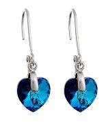 Till Mountain Heart Shaped Drop Earrings with Crystals Women's Enzian Blue Clip Earrings with Silver Crystal Heart Kistall Upper-class Glamour Earrings. Deep Blue