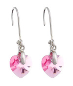 Till Berg Ladies 'Drop Earrings Heart Shaped Elements Crystal Earrings with Clip Pink Silver with Heart Kistall Glamour Earrings Upper-class. Rose