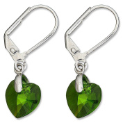 Till Berg Ladies 'Drop Earrings Heart Shaped Elements Crystal Green Earrings with Clip Silver with Heart Kistall Upper-class Glamour Earrings. Green