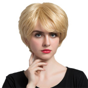 MagiDeal Short Bob Hair Wigs Straight Blond Natural Real Human Hair Wig with Free Wig Cap for Women Lady Daily Wear/ Cosplay