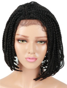 Golden Rule Bob Synthetic Braided Lace Front Wig For Black Women Box Braids Wigs Black Colour