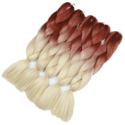 Golden Rule 2 Tone Ombre Kanekalon Braiding Hair 60cm 5Pcs 100g Synthetic Braid Hair Extension Brown and Cream White