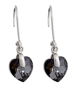 Till Mountain Heart Shaped Drop Earrings with Crystals Women's Grey/Black Earrings with Clip Silver with Crystal Heart Kistall Glamour Earrings Upper-class. Grey/Black