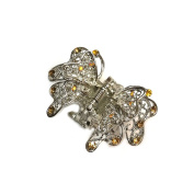 rougecaramel – Crab Metal and Crystal Butterfly Hair Clip – Brown