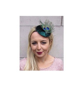 Starcrossed Boutique Dark Green Peacock Feather Pillbox Hat Fascinator Hair Clip Races Cocktail 4405