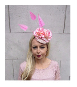 Starcrossed Boutique Hot Pink Cream Rose Flower Statement Feather Fascinator Pillbox Hat Races 4403