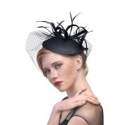 Women Elegance Net Flower Feather Fascinator Bride Hat Hair Clip Veil Party Hair Accessories