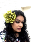 Sufias Accessories Extra Large Olive Green Peony Flower Hair Clip Slide Brooch Pin Festival Rose Big